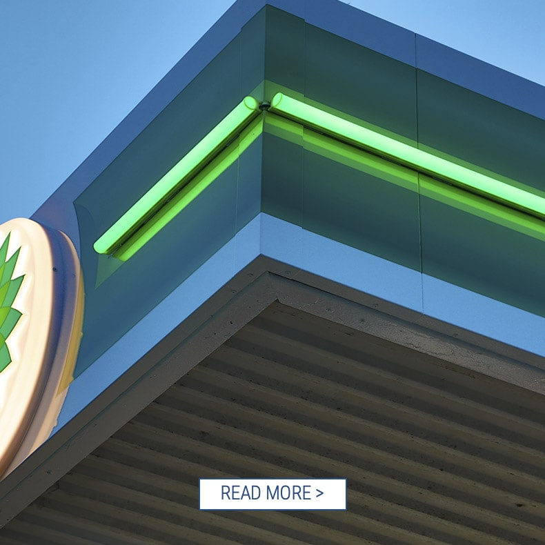 LED Contour Illumination application BP station green